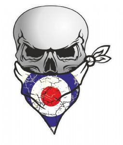 GOTHIC BIKER Pirate SKULL With Face Bandana & MOD Style RAF Roundal Motif External Vinyl Car Sticker 110x75mm